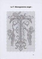 Gallery.ru / Фото #24 - Monogrammes Angels - Afortyna Cross Stitch Freebies, Filet Crochet, Needlepoint, Cross Stitch Patterns, Needlework, Charts, Weapon, Angels, Alphabet