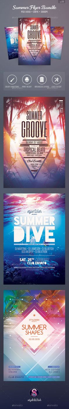 Summer Flyer Bundle Tempalte #design Download: http://graphicriver.net/item/summer-flyer-bundle-vol09/11470665?ref=ksioks