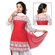 #Red Cotton #Salwar Kameez