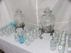Jaylies Baby Shower Drink Station Mason Jars with Elephant Tags. Baby Shower Elephants Blue Boys