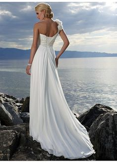 #Romantic Chiffon A-line One Shouler  Wedding Dress for Your Beach Wedding  Likes,repin,share! Thanks