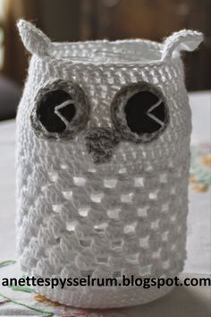 Anette´s Pysselrum: Ugglelyktor Crochet Stitches Patterns, Stitch Patterns, Knitting Patterns, Crochet Jar Covers, Beautiful Crochet, Crochet Animals, Tea Light Holder, Tea Lights, Diy And Crafts