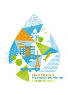 Poster for Eau de Paris Artwork: Supercinq Book Design, Cover Design, Layout Design, Print Design, Design Design, Design Ideas, Packaging Design Inspiration, Graphic Design Inspiration, Posters Conception Graphique