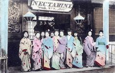 Prostitutes at the Nectarine brothel. On Old Japan many poor girls were sold into long-term indentured servitude in the misnamed pleasure quarters.