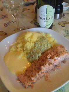 Steamed Salmon Pressed Potatoes Hollandaise and Lemon Pesto