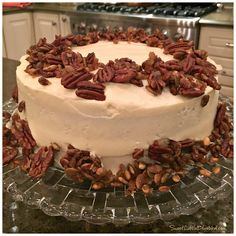 Brown Butter Pumpkin Layer Cake with a gingery glazed nut topping and Brown-Butter-Spiked Cream Cheese Frosting