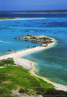 Beaches fishing boats village Tortuga Islands. Venezuela.