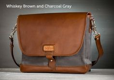 The Messenger Bag by Pad & Quill in Charcoal Gray Canvas and Whiskey Leather