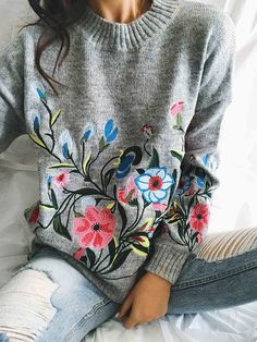 $49.99! Chicnico Gorgeous Embroidery Round Neckline Oversize Sweater --- Get ready for Fall fashion! Find fashionable outfits for the new season.