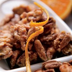Orange Glazed Pecans. These orange-flavored pecans are the perfect sweet snack for any time of day.
