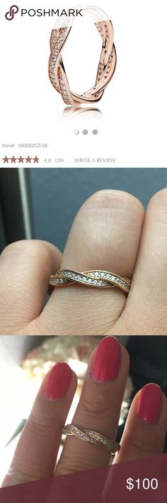Pandora Rose Gold twist of fate ring Worn for one week Pandora Jewelry Rings