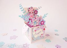 Scatola fiori Pop-up - card pop up 3d flowers