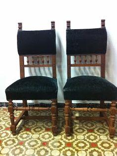 decoración vintage, antiguitats-baraturantic: sillas antiguas de nogal