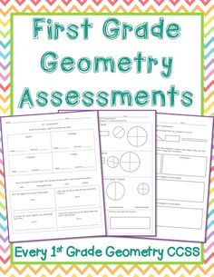 Free! First Grade Geometry Assessments: Three free first grade math tests covering 2D Shapes, 3D Shapes, and Partitioning Shapes/Fractions