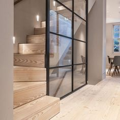 We really think the Douglas floor and stair treads help create a nice and calm contrast against the steel-framed glass wall in this London… Modern Staircase, Staircase Design, Staircase Ideas, Hallway Ideas, Modern Stairs Design, Staircase Glass, Modern Hallway, Traditional Staircase, Staircase Remodel