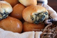 Easy spinach and cheese stuffed rolls using pre-made dough