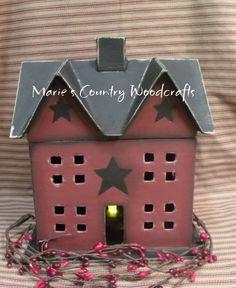 Hand painted papier maché saltbox house