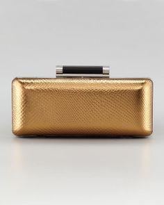 ShopStyle: Diane von Furstenberg Tonda Embossed Leather Minaudiere, Bronze