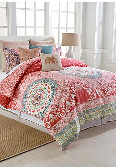 Love the floral medallion pattern in this Jessica Simpson Amrita Medallion Mini Comforter Set. The vibrant corals and blues are perfect colors for the bedroom. Coral Bedroom, Bedroom Colors, Girls Bedroom, Bedroom Decor, Bedroom Ideas, Master Bedroom, Jessica Simpson Bedding, Full Comforter Sets, Bed Sets