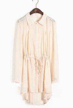 Apricot Single Breasted Drawstring Waist Chiffon Shirt