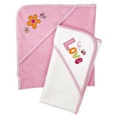 Gerber® Newborn Girls' 2-Pack Hooded Towels - White/Pink