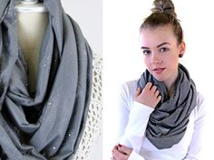 Sparkling Knit Infinity Scarf - A little sparkle and soft color frames your face for a flattering day into evening appeal.| Sew4Home