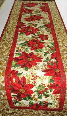 Christmas Table Runner with Poinsettias from Kaufman Holiday