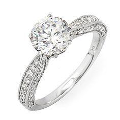 EGL Certified Diamond Engagement Ring 18k White Gold 1.60 Carat Round Cut #DiamondsByElizabeth #Prong