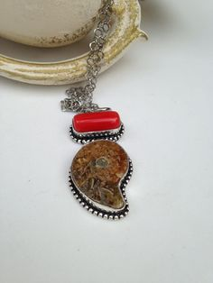 Ammonite Fossil  and Coral Necklace on Stainless by lyrisgems