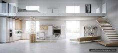 Contemporary Light Loft Interiors - http://www.smallroomdesigns.com/small-bedroom-design/contemporary-light-loft-interiors.html