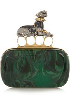 Alexander McQueen|Panther Swarovski crystal-embellished Plexiglas® box clutch|NET-A-PORTER.COM