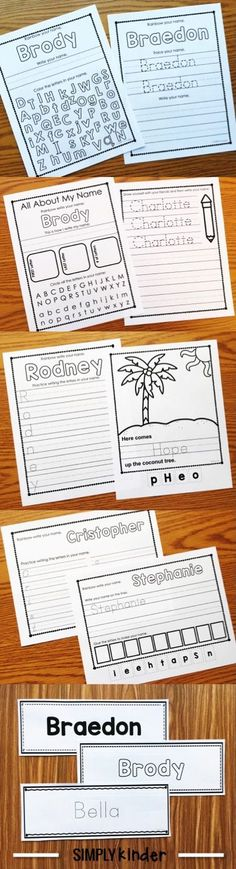 Editable Names Printables from Simply Kinder. Type the kids names once and multiple pages create for your entire class! Kinder Name Activities, Free Kindergarten Worksheets, Kindergarten Writing, Literacy, Preschool Ideas, Preschool Prep, Kindergarten Centers, Preschool Education, Preschool Painting