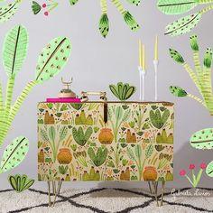 Furniture design - celebration of cacti & succulents w @denydesigns #plants #nature #homedecor #homewares #surfacepattern #patterns #patterndesign