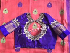 Beautiful saree with designer blouse. Blouse with gutta pusala necklace type embroidery work. 09 June 2017