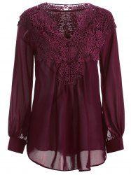 Crochet Detail Long Sleeve Blouse - WINE RED S Mobile