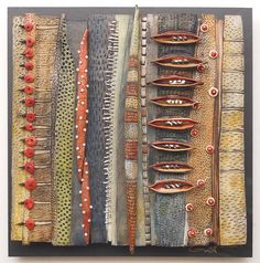"""http://bluespiral1.com/ - VICKI GRANT-After sketching out designs, Grants carves them into the clay, adding textures and choosing colors. Instead of glaze, she applies """"layers and layers and layers of pigment."""" She often adds and arranges other elements into the piece. """"I look at shape, texture, size, color. I'm inspired by natural pieces, like wood and stone,"""