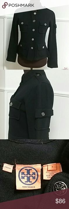 DARLING TORY BURCH BLACK JACKET CLASSIC BLACK TORY BURCH JACKET. SILVER AND BLACK BUTTONS.  2 POCKETS AT BREAST AREA  2 POCKETS AT WAIST  3 BUTTONS ON CUFFS  PRE LOVED IN FANTASTIC CONDITION  100% wool. Tory Burch Jackets & Coats Blazers