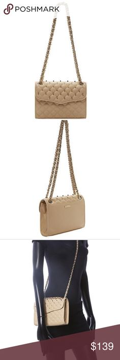 """Authentic Rebecca Minkoff mini affair w studs Authentic Rebecca Minkoff leather crossbody bag in biscuit (nude color) with gold studs and chain. Goes well dressed up or casual. 8.5x6x2.5"""" straps 47"""". Chain can be adjusted to one strap for crossbody and double straps for shoulder bag. No dust bag. Rebecca Minkoff Bags Crossbody Bags"""