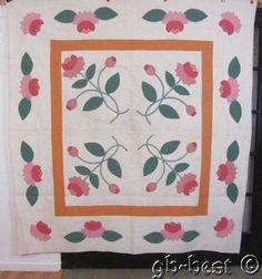 Pennsylvania Dutch 1930s Pink Water Lily Applique Vintage Quilt Fine Quilting   eBay