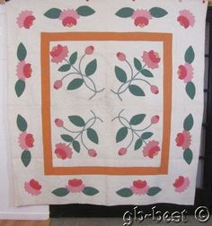Pennsylvania Dutch 1930s Pink Water Lily Applique Vintage Quilt Fine Quilting | eBay