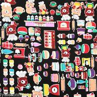 Joli tissu Japonais personnages rigolos fd noir rétro patchwork FQ 50 cm x 45 cm