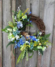 Woodland Garden Bunny Wreath ~A New England Wreath Company Designer Original~ Easter Wreaths, Christmas Wreaths, Summer Wreath, Spring Wreaths, Diy Wreath, Wreath Burlap, Wreath Making, Wedding Wreaths, How To Make Wreaths