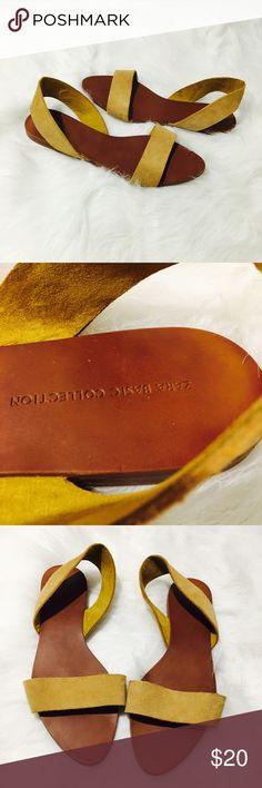 Zara Cognac Suede Sandals Flats Genuine Suede Zara Basic Collection sling back Sandals, rich cognac saddlebag color. Near perfect condition  Zara Shoes Sandals