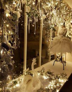 Previous winter window dressing, swan lake inspired at Joanna Leigh Couture. Winter Window Display, Window Displays, Christmas Window Decorations, Holiday Decor, Lake Decor, Window Dressings, Dry Goods, Swan Lake, Black Swan