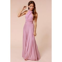 LULUS Exclusive Tricks of the Trade Mauve Maxi Dress (83,455 KRW) ❤ liked on Polyvore featuring dresses, pink, maxi dresses, strapless dresses, lulus dress, long wrap dress and wrap dress