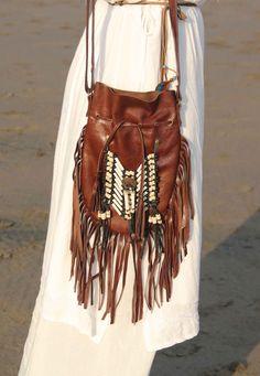 bolso de cuero bolso de piel marron bolso indiano por etnikabali