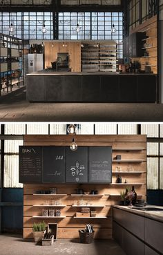 archiproducts - love the color, materials, and freestanding kitchen wall
