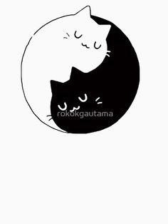 'Yin Yang Cats Kittens' T-Shirt by rokokgautama Yin Yang, Wallpaper Gatos, Cat Wallpaper, Tattoo Cover Up, Cat Clipart, Kawaii Cat, Paperclay, Cat Stickers, Cat Tattoo