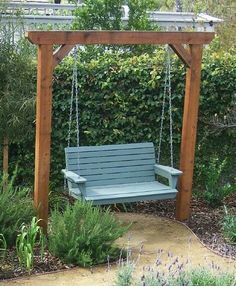 The 2 Minute Gardener is a great source for garden ideas with over 600 photos and tips. Here is a cedar garden swing. I love the blue swing!