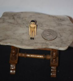 Vintage Doll Metal Jointed Peg Doll Tiny Dollhouse